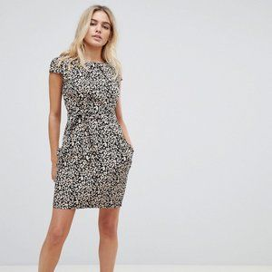 QED London leopard print tulip dress with pockets